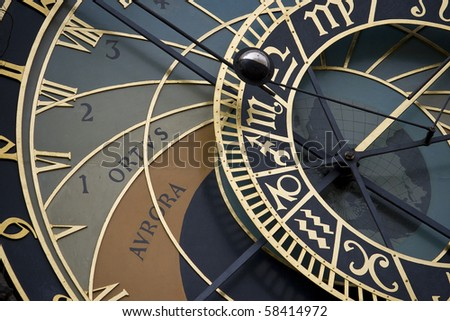 Macro background of old Czech astrological clocks
