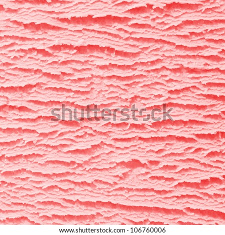 Macro background of the surface texture of a scoop of creamy strawberry icecream in square format