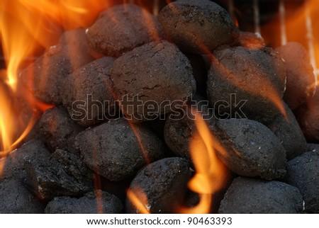 macro charcoal barbecue briquettes #90463393