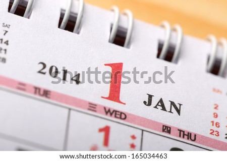 Macro Chinese Calendar 2014 -  January with Chinese number word