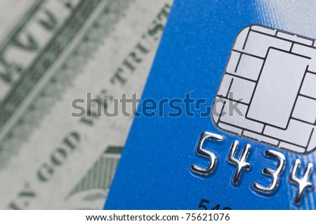 Macro chip card with us dollar background
