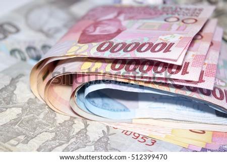 macro close up crumpled rupiah...