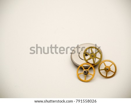Macro close up of cogs and gears. Cogs and gears for any kind of operational, mechanical, industrial conceptual or symbolic application with space left open for creative design or text editing.