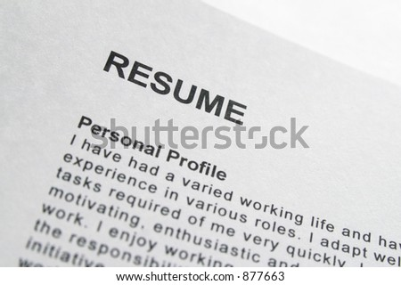 Macro close-up of Resume title page