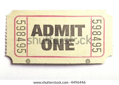 Macro closeup of an admit one ticket
