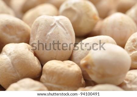 Macro closeup of garbanzo bean in pile