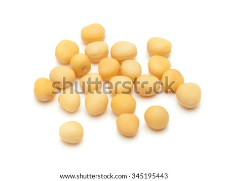 Macro closeup of Organic yellow mustard seeds (Brassica alba) isolated on white background. #345195443