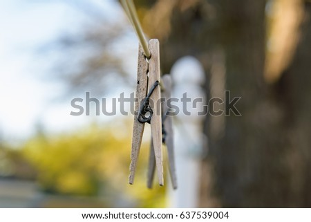 macro closeup of wood clothespin on line on sunny day in springtime #637539004