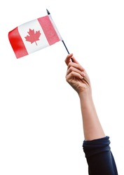 Macro closeup shot of hand arm waving a red white canadian flag with maple leaf isolated on white background