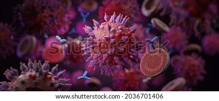 Macro coronavirus(covid-19) cell delta and MU variant of interest(VOI),B.1.621,B.1.617.1,C.37.COVID 19 Delta plus,MU variant,Mutated coronavirus SARS-CoV-2 flu disease pandemic,3D render illustration