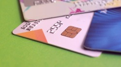 Macro credit card with a chip close-up . Selective focus. For financial, Sale-Buy or business use.