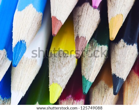 Macro detail of a set of colored pencils