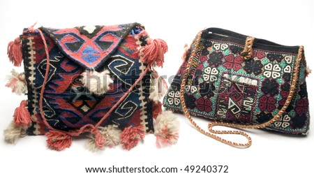 macro detail of hand made knitted kilim turkish handbag  patterns made in turkey - stock photo
