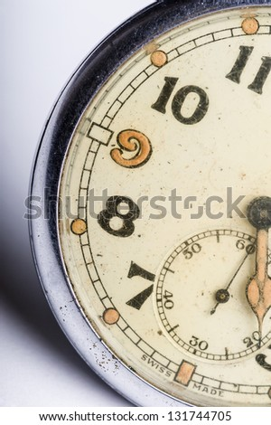 macro detail of shabby vintage pocket watch face - time concept