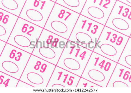 Macro detail of unused government paper voting ballot ovals and numbers. #1412242577