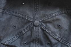Macro detail top view of jeans denim hat cap, creative urban flyer banner texture