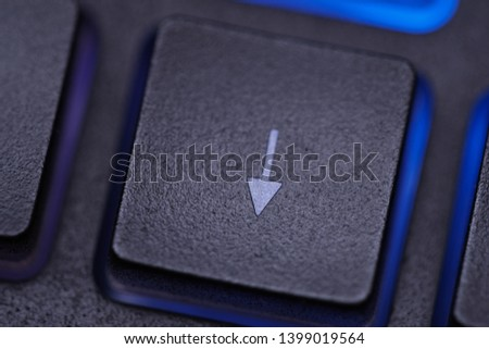 Macro direction key on keyboard, arrow button on computer pc or laptop keyboard for move cursor with backlight #1399019564