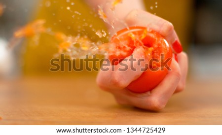MACRO, DOF: Unrecognizable female chef with red nails squeezing a ripe organic tomato. A delicious plump tomato is squeezed by a woman with a firm grip. Organic vegetable explodes in a girl's hand. Stockfoto ©