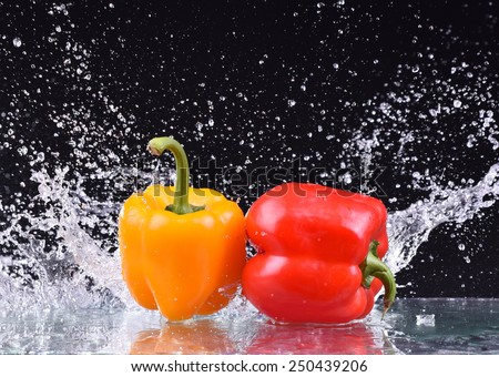 Macro drops of water fall on the red and yellow pepper and make splash