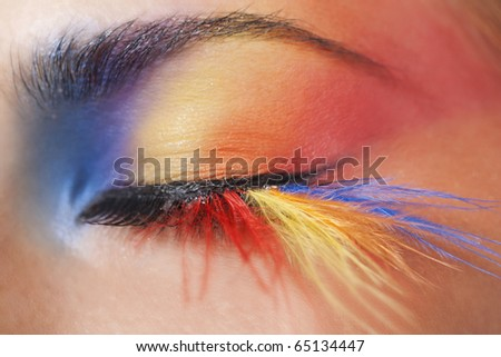 Macro eye of a woman with bright colourful eyeshadow with long feather false eyelashes