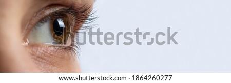 Macro eye photo. Keratoconus - eye disease, thinning of the cornea in the form of a cone. The cornea plastic. Ophthalmology banner Сток-фото ©