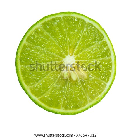 Macro food collection - Lime slice. Isolated on white background #378547012