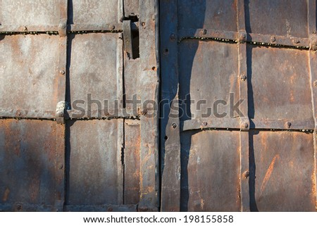 Macro fragment of old rusty metal door of the temple in the sunlight #198155858