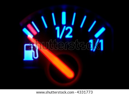 Macro full frame of a fuel gauge, dash board, technical