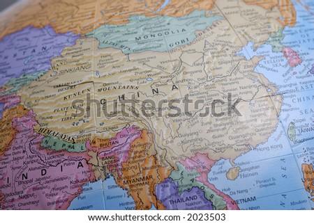 Macro Globe Map Detail 20 China