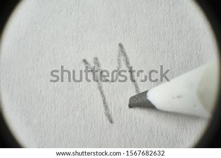 Macro Hand pencil Letter M. ストックフォト ©