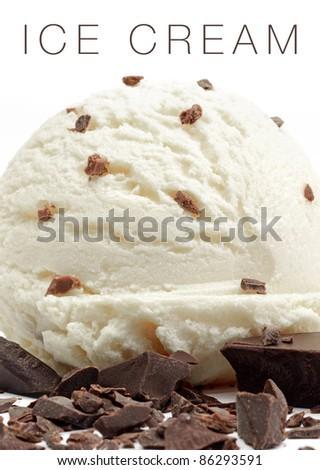 Macro ice cream and chocolate parts on white background