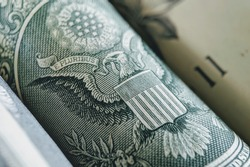 Macro image a United States Dollars USD Note or Bank note close up with selective focus. Business/Finance concept.