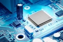 macro image electronic circuit board with processor