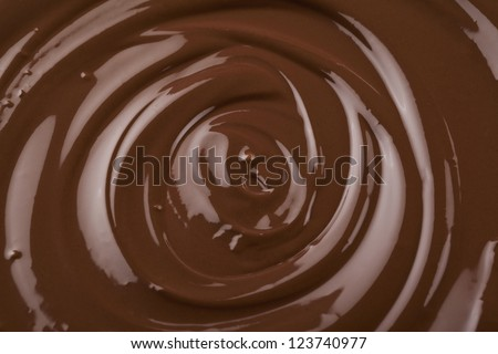 Macro image of a dark melted chocolate