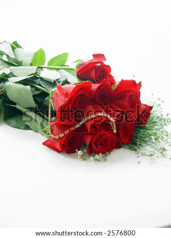 Macro image of a dozen red roses with baby's breath and diamonds.