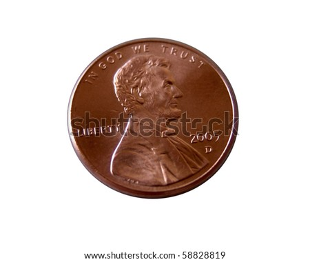Macro image of a US penny isolated on white