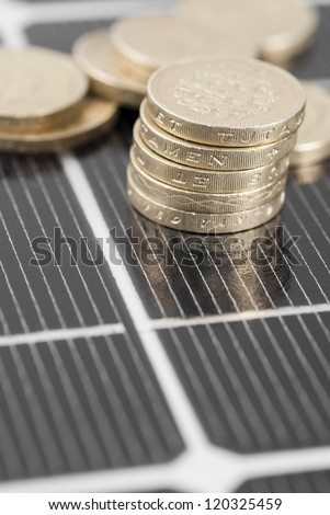 Macro image of Photovoltaic solar panel. Money ���£���£'s.