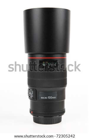 macro lens and lens hood isolated on white