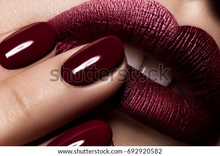 Macro lips nail burgundy color makeup campaign cosmetics