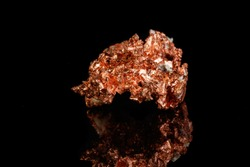 Macro mineral stone Copper on black background close up