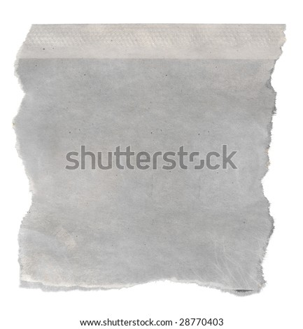 Macro of a blank torn newspaper clipping, isolated on white background.