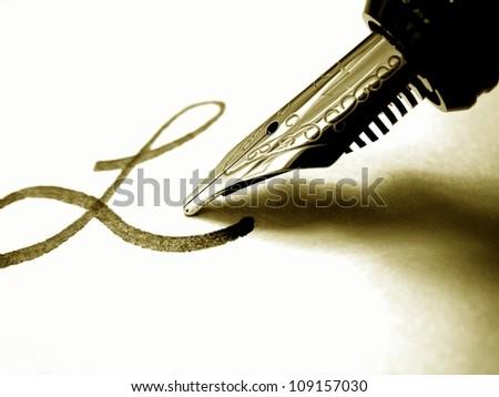 Macro of a fountain pen