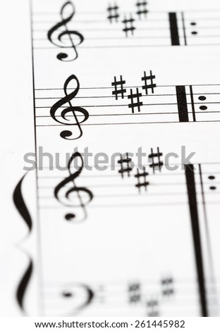 Macro of a musical score - Shallow depth of field
