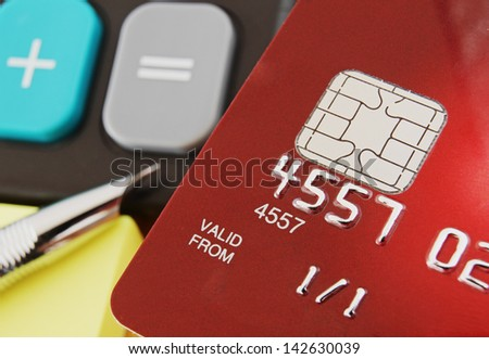 Macro of a Red Credit Card with a Micro Chip