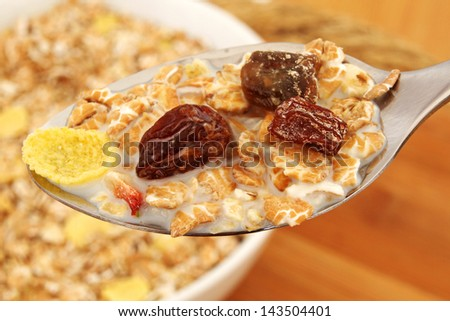 Macro of a Spoon full of Healthy Muesli with Milk