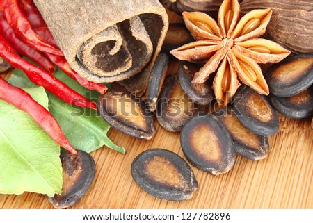 Macro of Assorted Spices used in Asian Cooking