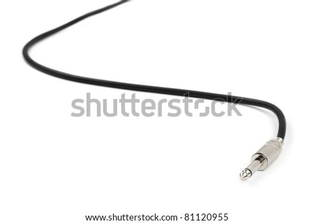 Macro of audio cable isolated on white background - stock photo