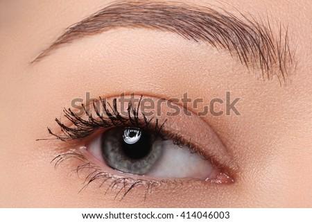 Macro of beautiful female eye with perfect shape eyebrows. Clean skin, fashion naturel make-up.
