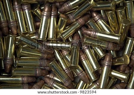 Macro of 22 caliber rimfire bullets