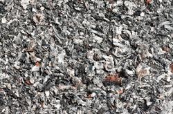 Macro of cigarette ash in the ashtray